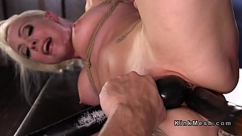 Pain, Huge dildo, Tied, Hogtied, Rope
