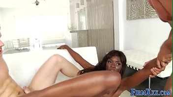 Swallow, Ebony anal, Ebony threesome