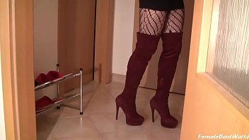 Slave, Boots, High heels, Leggings, Femdom boots